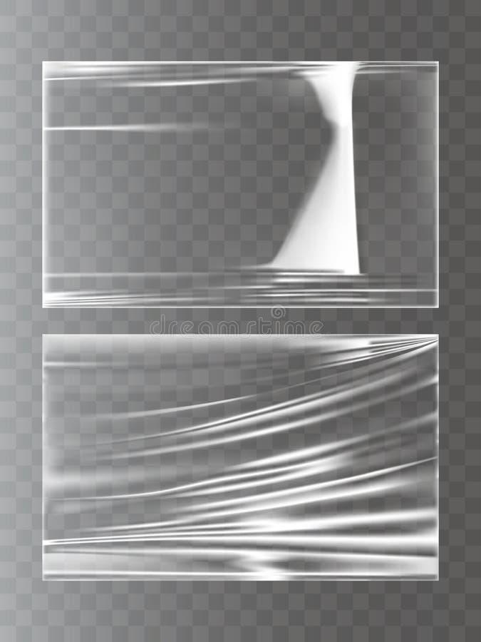 Vector ilustrações de um filme de estiramento de envolvimento plástico em um estilo realístico ilustração royalty free