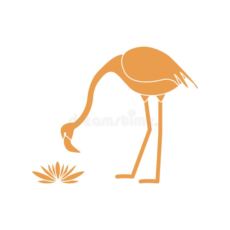 Vector a ilustra??o com as flores dos l?rios do p?ssaro e de ?gua do flamingo Projeto para o cartaz ou a c?pia ilustração do vetor