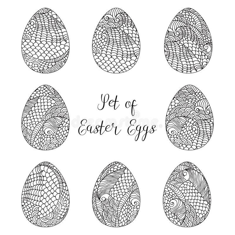 Vector ilustration, set of Easter eggs with hand drawn doodle patterns isolated on white. Coloring black and white book royalty free illustration