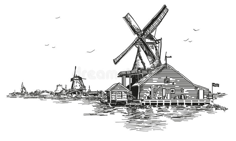 Vector ilustration watermill in Amsterdam. Graphic Vector hand drawing engraving Illustration of watermill in Amsterdam Netherlands, Holland in black color stock illustration