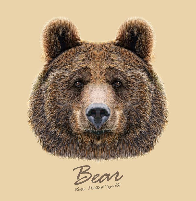 Vector ilustrou o retrato do urso no fundo bege ilustração stock
