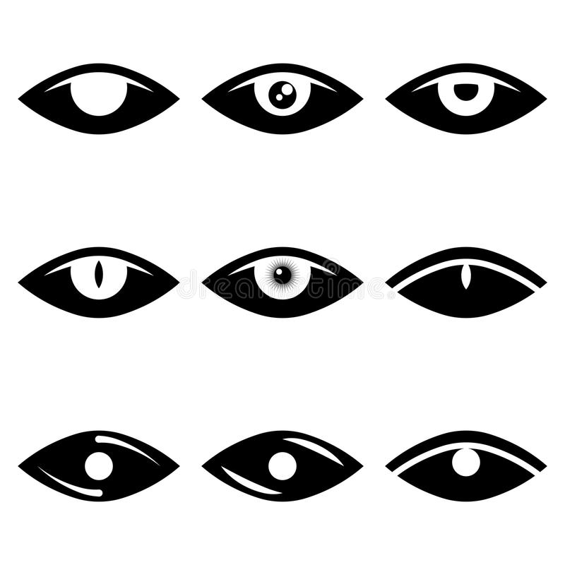 Vector image of abstract eye icons in black and white. Flat. stock illustration