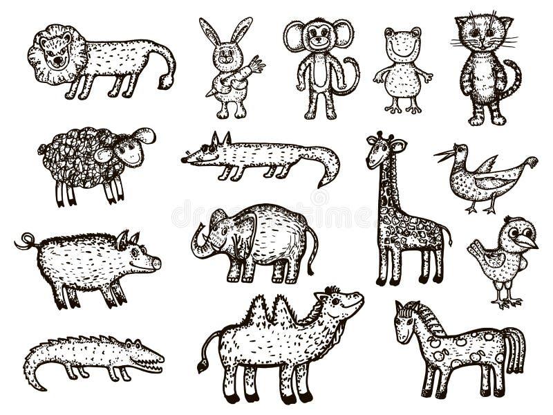 Vector image of animals. Animal sketches - elephant, crocodile, monkey, giraffe, boar, camel, bear, chicken, bird, frog, lion, fo stock illustration