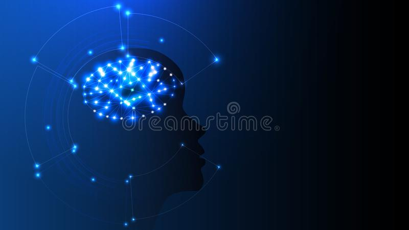 Vector image of artificial intelligence in the form of a luminous human head. EPS 10. Vector image of artificial intelligence in the form of a luminous human vector illustration