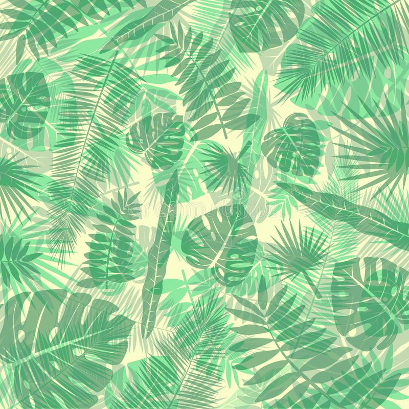 Vector image of a background of tropical leaves in green and yellow shades. Botanical illustration. vector illustration