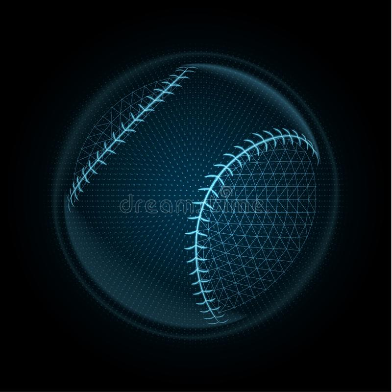 Vector image of a baseball ball made of glowing lines & points royalty free illustration