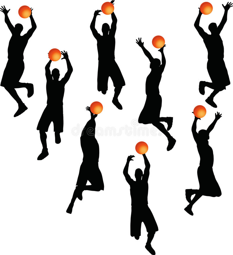 Vector Image - basketball player man silhouette isolated on white background vector illustration