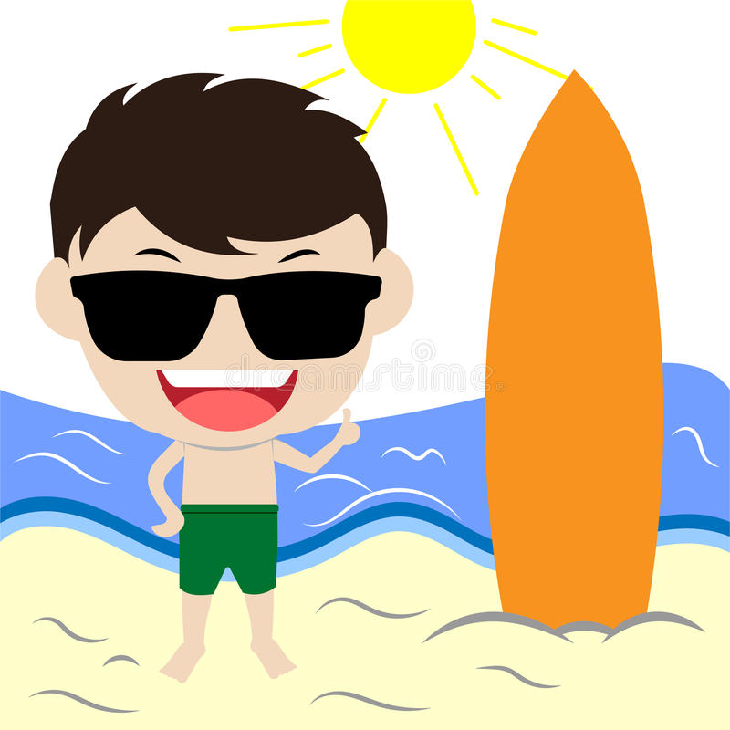 Vector image beach. With man character vector illustration