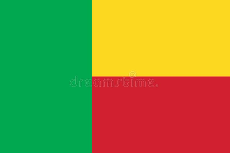 Vector image for Benin flag. Based on the official and exact Benin flag. Dimensions 3:2 & colors 354C, 186C and 115C royalty free illustration