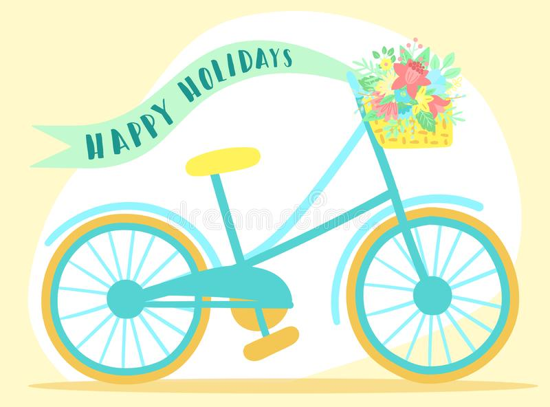Vector image of a bicycle with basket, flowers, ribbon and butterflies on a pink background. Hand-drawn Easter illustration for s. Pring happy holidays, summer royalty free illustration