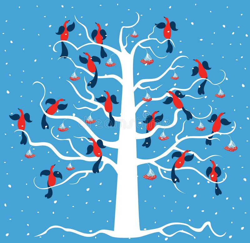Vector image of the birds on a frozen tree stock illustration
