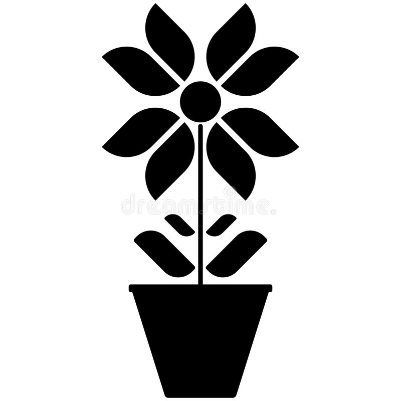 Vector image of black and white flower icons in a pot on a white background. stock illustration