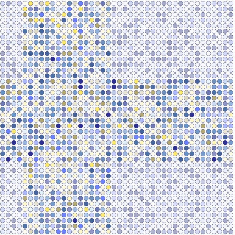 Vector image of a blue, yellow dots on a grey background. royalty free illustration