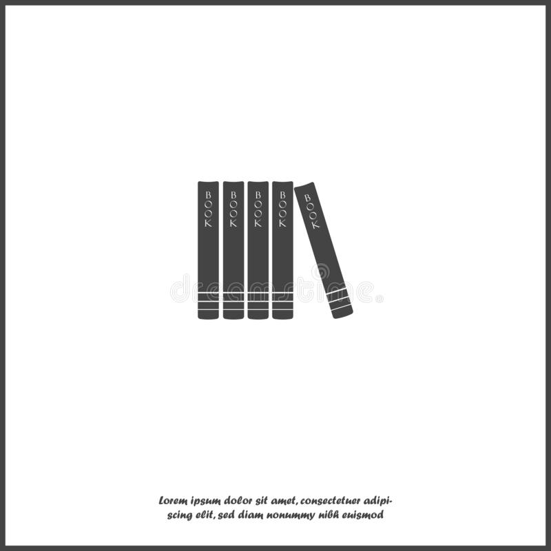Vector image of books standing on a shelf icon on white isolated background stock illustration