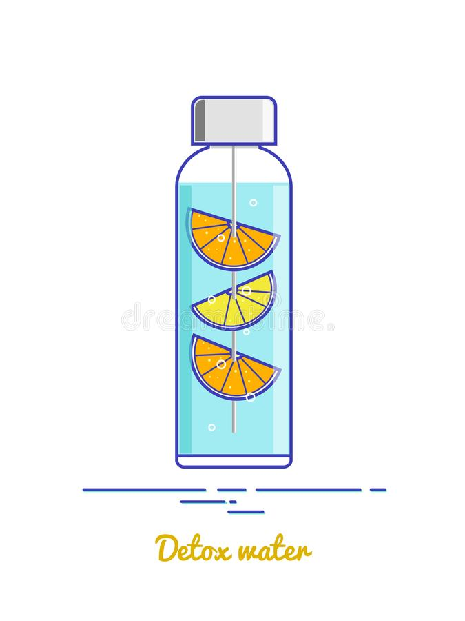 Bottle with detox water on the white background stock images