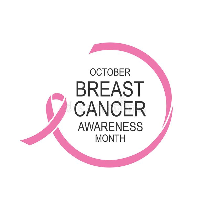 Vector image of breast cancer awareness ribbon.Poster design.October is cancer awareness month. stock illustration