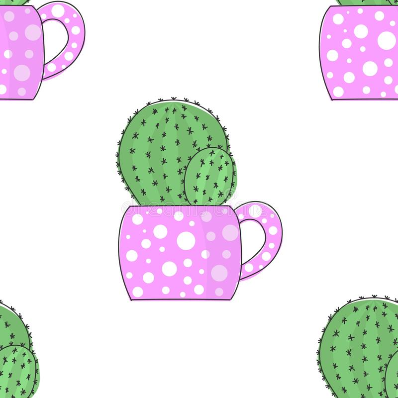 Vector image bright cactus in a flower pot with polka dots. Seamless pattern.  stock illustration