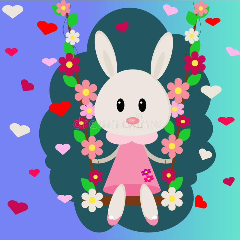Vector image of a bunny on a swing in a cloud. Bunny in flowers and hearts. Vector illustration for openings, banners, spaces. stock image