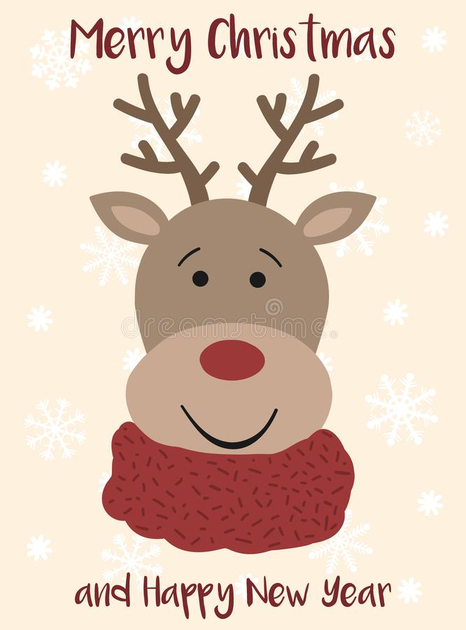 Vector image of a cartoon christmas deer. Hand-drawn greeting card against the backdrop of snowflakes. Winter Christmas and New Ye royalty free illustration