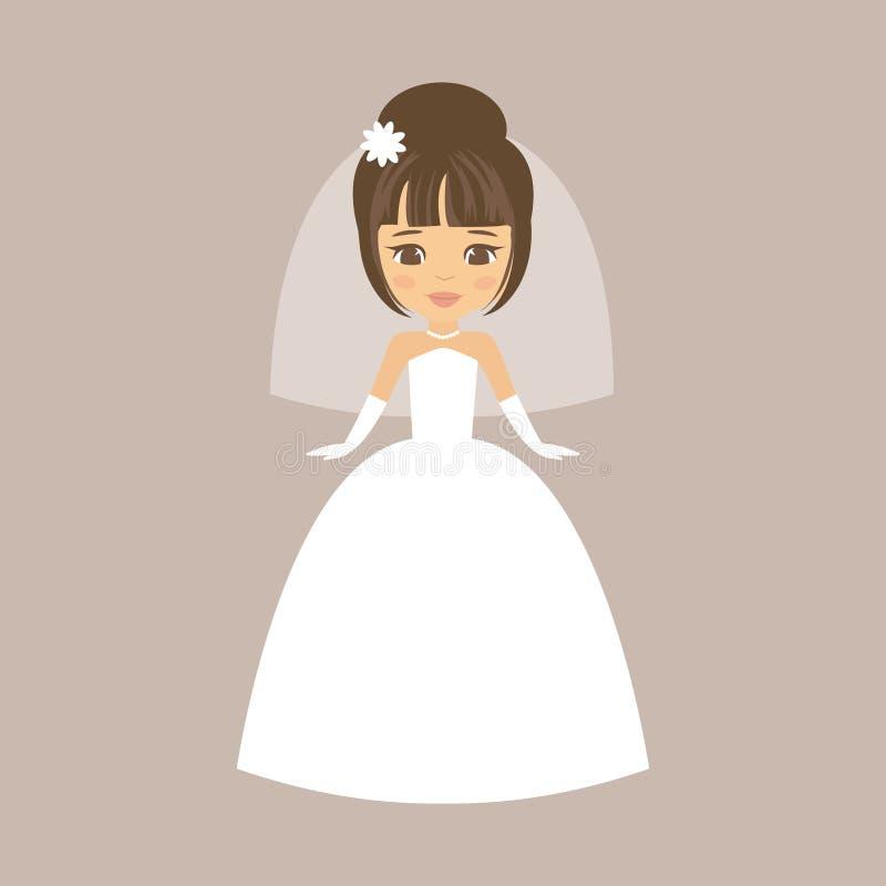Cartoon cute bride royalty free stock images