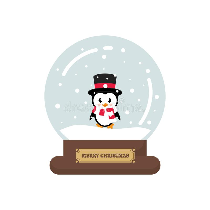 Cartoon cute christmas snowglobe with cute penguin. Vector image of a cartoon cute christmas snowglobe with cute penguin stock illustration