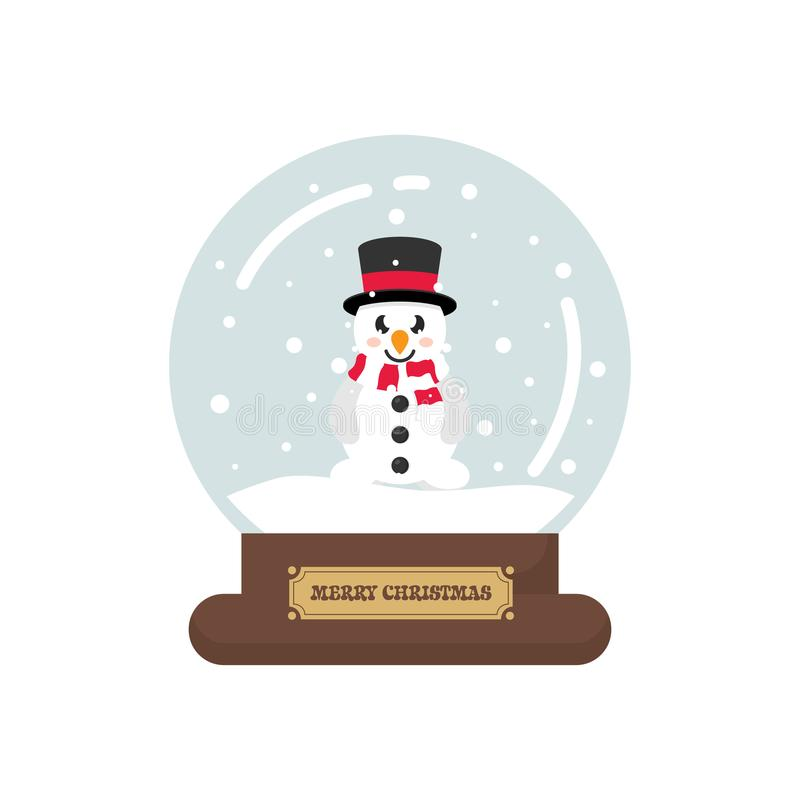 Cartoon cute christmas snowglobe with snowman. Vector image of a cartoon cute christmas snowglobe with snowman royalty free illustration