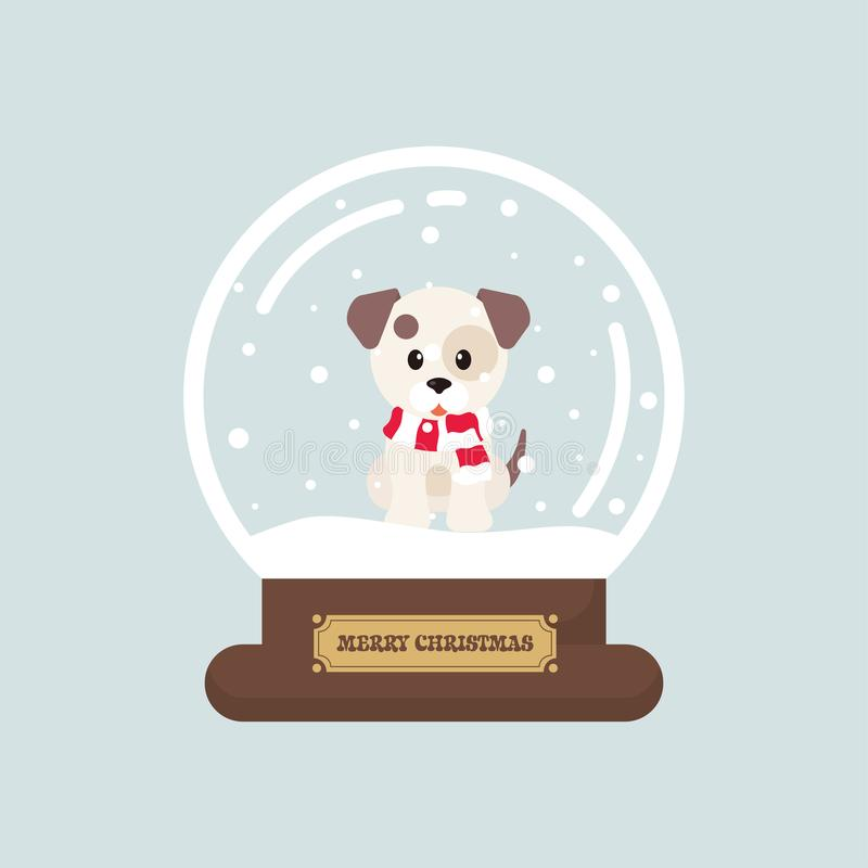 Cartoon cute christmas snowglobe with winter dog stock illustration