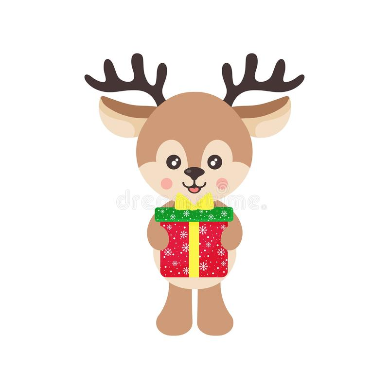 Cartoon cute deer vector with christmas gift royalty free stock photo