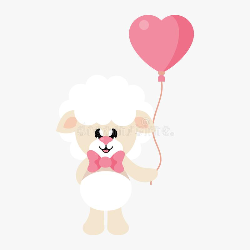 Cartoon cute sheep with tie and lovely balloons stock illustration