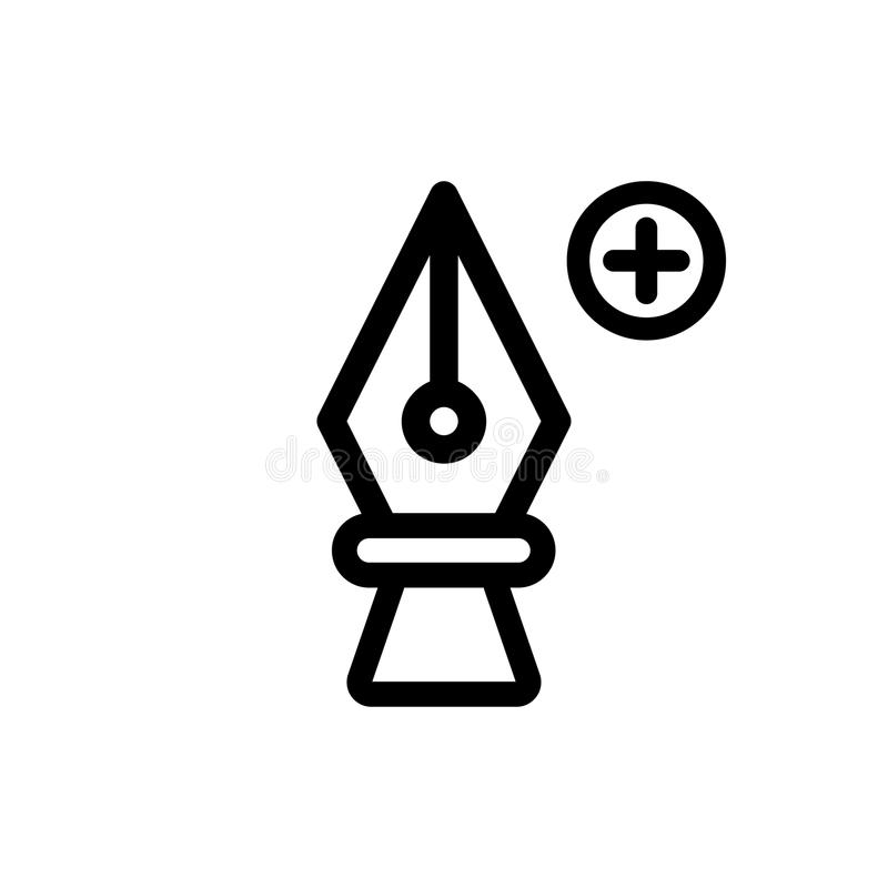 Cartoon pen tool colored with plus icon outline royalty free illustration