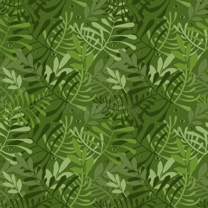 Vector image of carved leaves in a chaotic manner in green. Seamless background for wallpaper, textile and wrapping royalty free stock photography