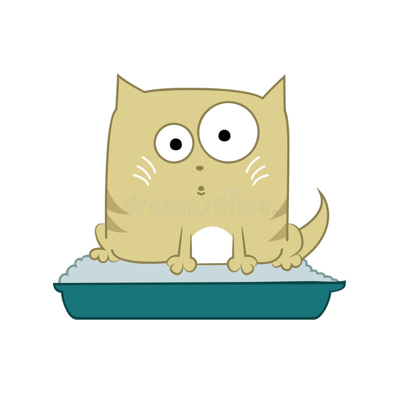 Cat in toilet royalty free illustration
