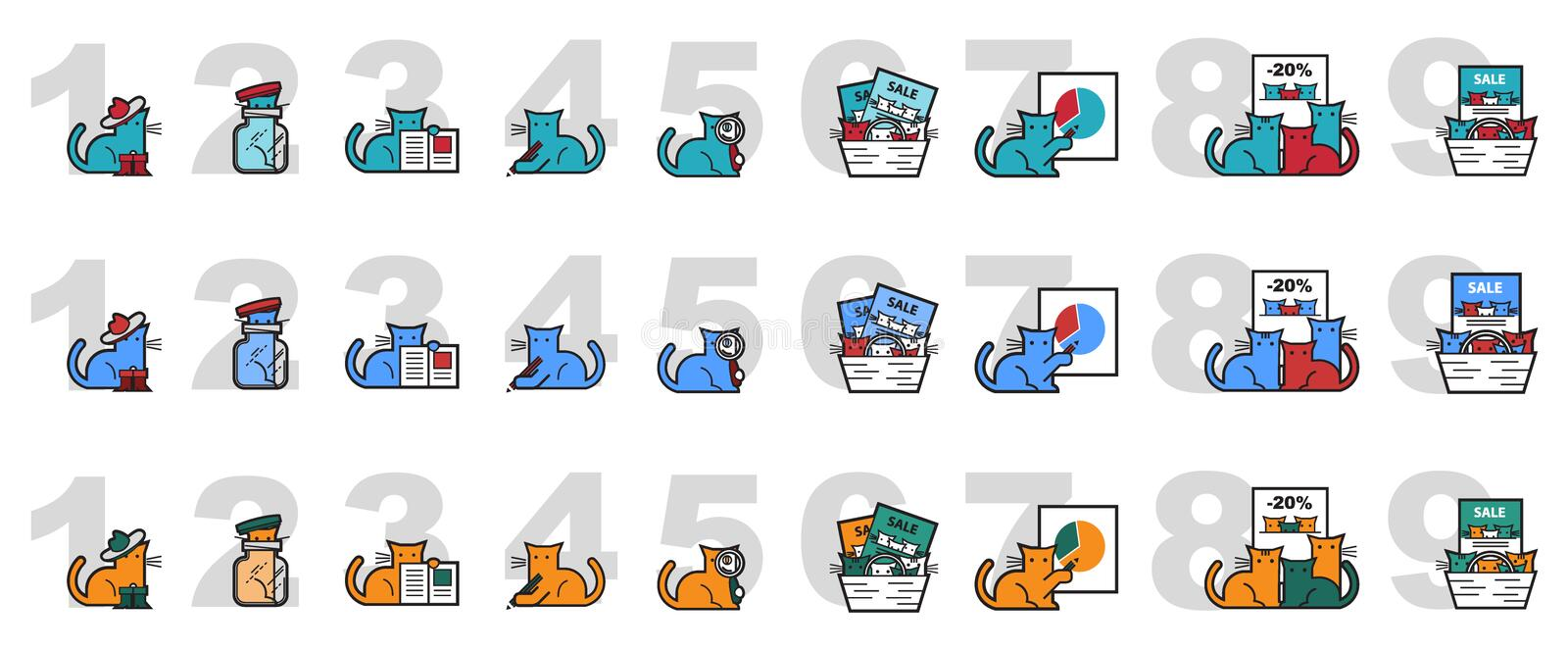 Vector image of cats for marketing and presentations stock illustration