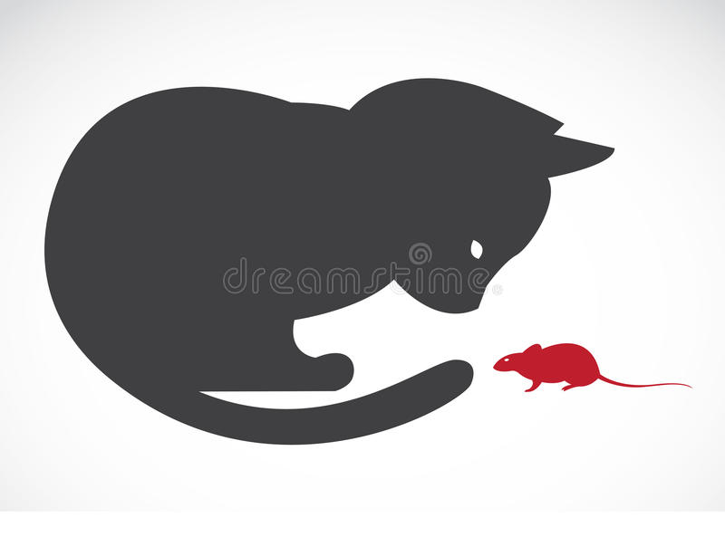 Vector image of an cats and rats. On white background royalty free illustration