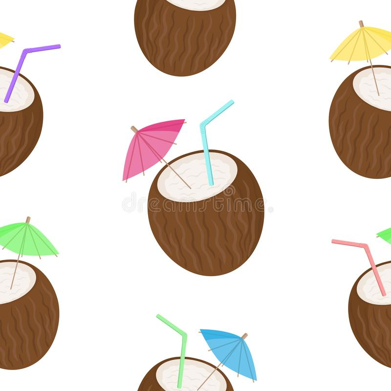 Vector image of cocktails in the form of coconut with colorful tubules and umbrellas. Seamless pattern on a light background. Summ stock illustration