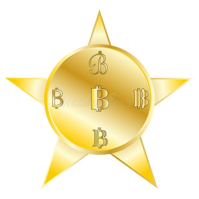 Vector image coins bitcoin with a symbol in a different form of yellow color with a gradient on a five-pointed star. Background with a gray edging on a white royalty free illustration