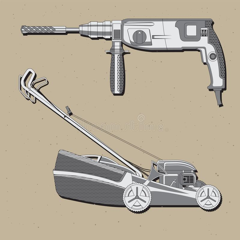 Vector image of collection tools mower, perforate vector illustration