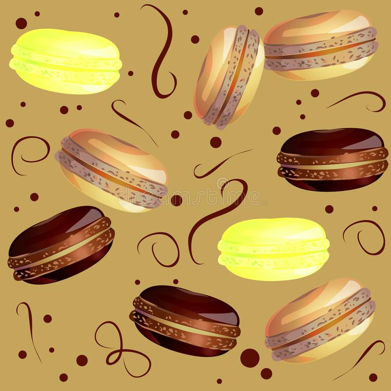 Vector image of color french sweets on a light brown background. Drawing sweet elements for the design of cards. Dessert for breakfast at the patern. A stock illustration
