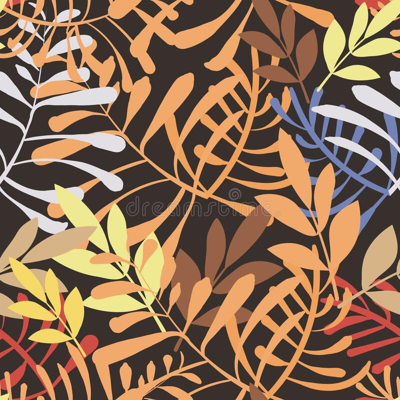 Vector image of colorful leaves and twigs in the jungle on a dark background. Seamless pattern for wallpaper, textile royalty free stock image
