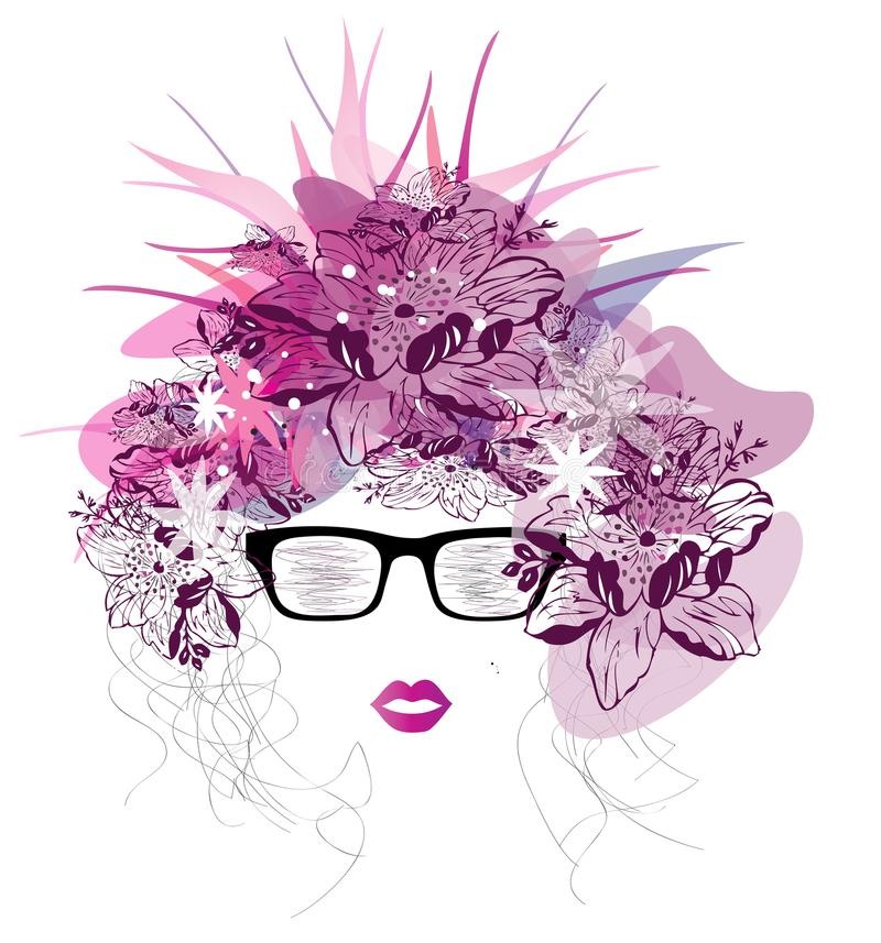 Curly girl scetch portrait isolated with purple transparent flowers. Vector image of curly girl scetch portrait isolated with purple transparent flowers and stock illustration
