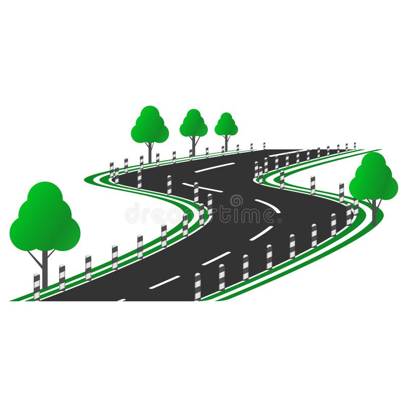 Vector image of a curved road picture with a roadside, trees and columns along the road. Flat Pattern.  royalty free illustration