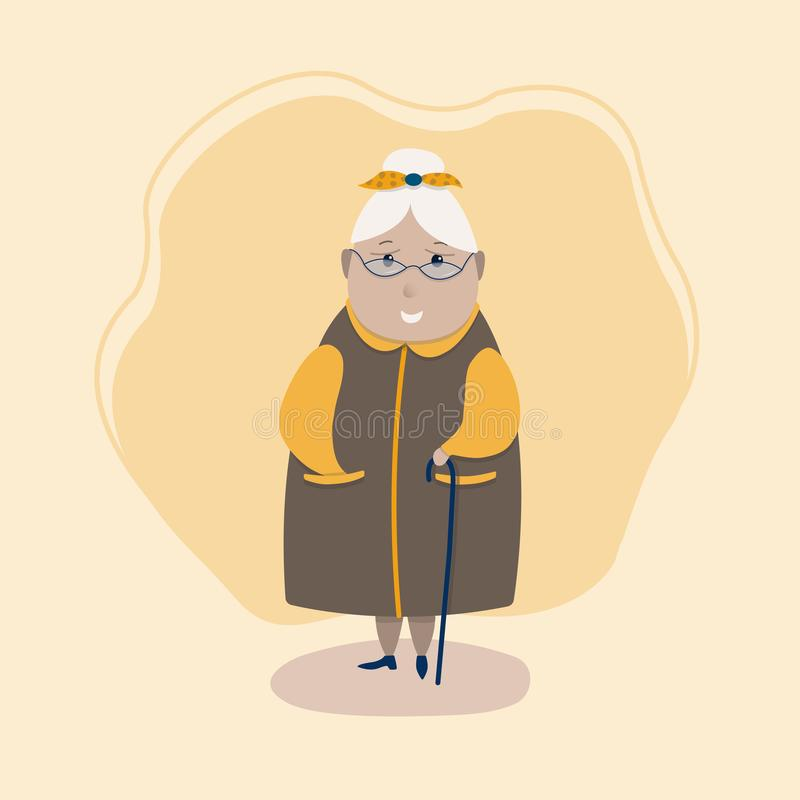 Vector image of a cute grandmother in glasses, with a cane. Vector image of a cute grandmother in glasses, with a cane stock illustration