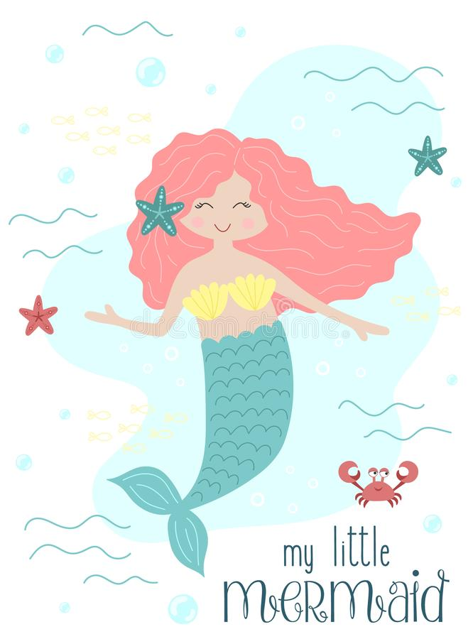 Vector image of a cute little mermaid with pink hair with a starfish and a crab under water. Sea hand-drawn illustration for girl stock illustration