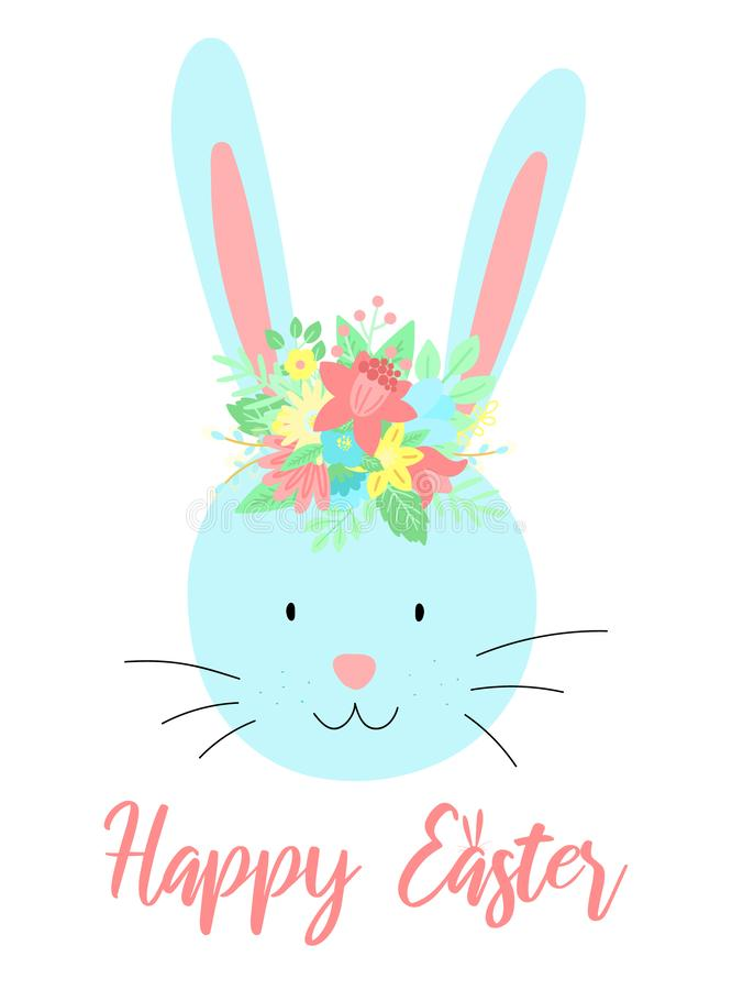 Vector image of a cute rabbit with flowers on the head with an inscription. Hand-drawn Easter illustration of a bunny for spring h stock illustration