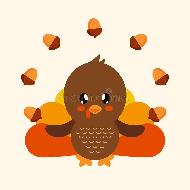 Cute turkey with acorns. Vector image of a cute turkey with acorns stock illustration
