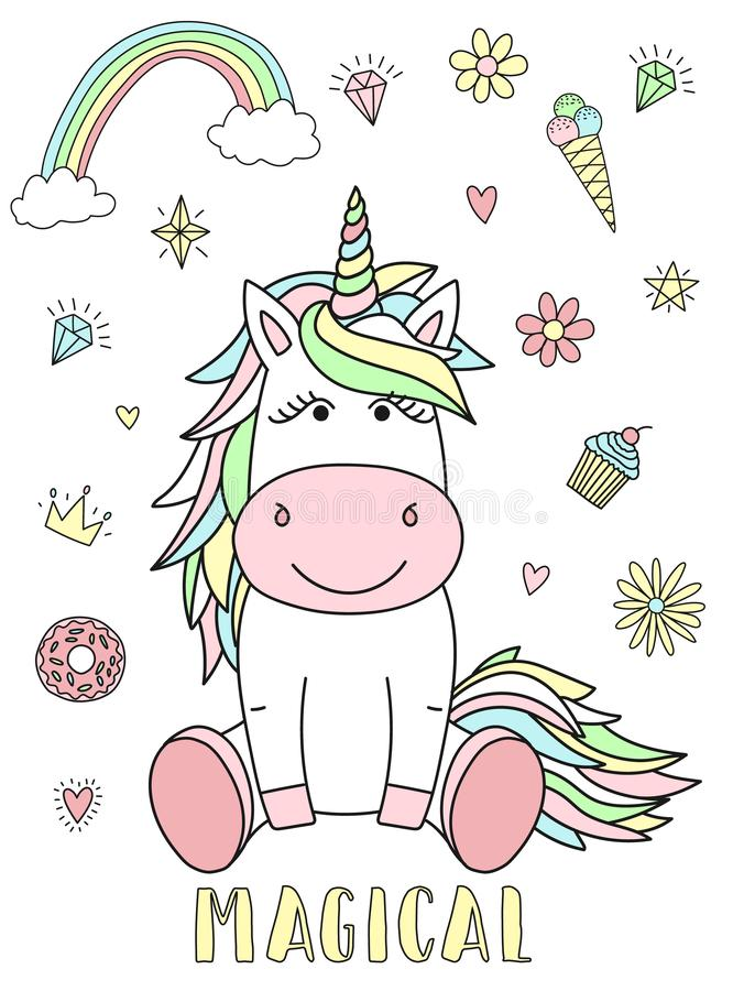 Vector image of a cute unicorn with hearts, flowers, rainbow, diamonds and the inscription Magical. Concept of holiday, baby showe vector illustration
