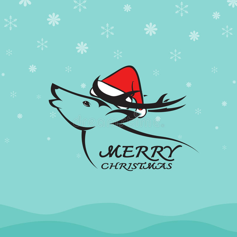 Vector image of an deer and santa hats. On blue background. Merry christmas royalty free illustration