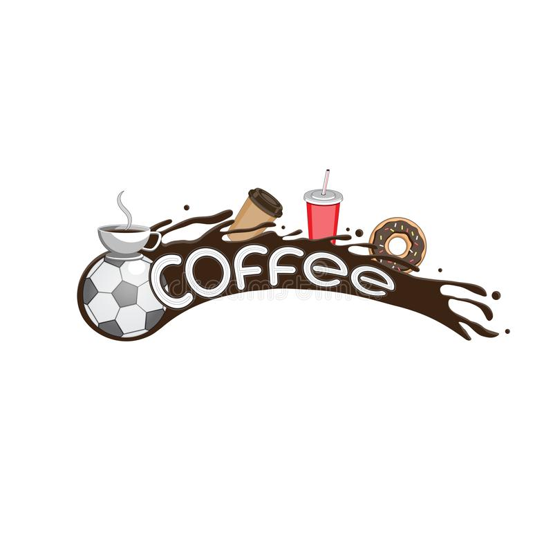 Vector image design flying soccer ball coffee liquid Cup packing doughnut letters on isolated white background. Eps 10 vector illustration