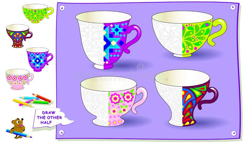 Educational page for kids. Need to paint the second parts of cups. Developing children skills for drawing and coloring. Vector image. Developing children skills stock illustration