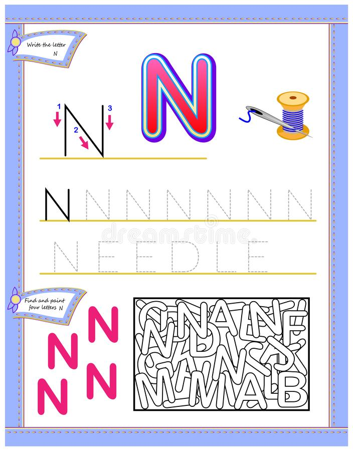 Worksheet for kids with letter N for study English alphabet. Logic puzzle game. Developing children skills for writing and reading. Vector image. Developing royalty free illustration